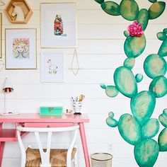 A super cool southwest girls room with this trendy cactus accent - adore the pink and green together!  Design by @jandjdesigngroup