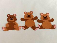 3 Card Teddy Bears, Embellishments, Card And CraftToppers, New Baby, Handmade Brown Teddy Bear, Teddy Bears, New Baby Crafts, Cut Animals, Cellophane Bags, New Baby Products, Embellishments, Deer, Cards