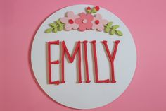 Decorate your nursery with this stylish, modern wooden name sign! Everything is hand crafted with a whole lot of love!  Each piece will be cut, sanded, painted and stained by hand. The stain may vary due to the grains and knots from the wood. That is what makes your sign so unique! Wood Name Sign, Wood Names, Wood Letters, Name Signs, Wood Signs, Personalized Wooden Signs, Flower Circle, Nursery Signs, Handmade Wooden