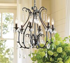Two of these beautiful chandeliers in the bathroom above 10' vanity table or hanging from middle of room.  Celeste Chandelier #potterybarn