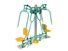 Milwaukee 010 body building outdoor fitness equipment  If you are looking for an exquisite body building equipment, than this is choice of buy. The Aim of this product is to develop arm and back muscles by providing oxygen for muscles upon routine usage. Its ergonomic design enables two users to exercise simultaneously. The product consists of sitting plates, back support and movable handle bars for each user.