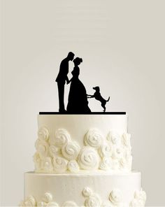"""Wedding Cakes Wedding Cake Topper with two Dogs, Custom Wedding Cake Toppers, Rustic Cake Topper with Last Name - This unique beautiful wedding cake topper is ideal for the dogs loving couple! Featuring two dogs, a bride and groom silhouette, """"Mr Bride And Groom Cake Toppers, Custom Wedding Cake Toppers, Wedding Topper, Wedding Cake Designs, Wedding Bride, Wedding Favors, Wedding Decorations, Wedding Ideas, Bride Groom"""