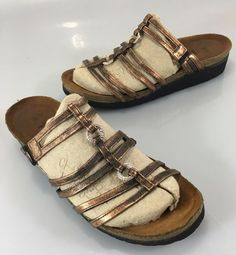 NAOT Womens 7 US 38 EU Copper Leather & Crystals Flats Slides Sandals #NaotFootwear #Slides #Casual