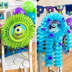 Attach these monster buddies to the back of chairs and your party table will be a scream! See how we made them and get more Monsters University party ideas with scary style.