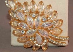 Decadent Juliana D&E Iridescent Carved Stone/Rhinestone Huge Brooch!  FABULOUS! #JulianabyDeLizzaElster