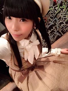 相沢梨紗 Aizawa Risa - Dempagumi.inc / でんぱ組.inc - brown Angelic Pretty Melty Ribbon Chocolate襟付ジャンパースカート (Jumper Skirt)