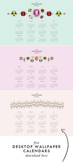 Free wallpaper calendar for your desktop.