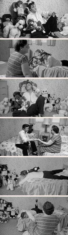 Memphis: Elvis Presley at home in his room with his stuffed animals and mother Gladys, May 1956.