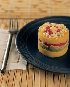 One of my characters' favorite Peruvian dishes - causa rellena, made with yellow potato, avocados, tuna, aji (yellow pepper) and mayo.