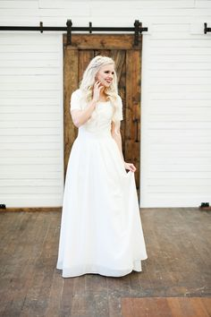 Elizabeth Cooper Design | modest wedding dress | chiffon | short sleeves | boho…