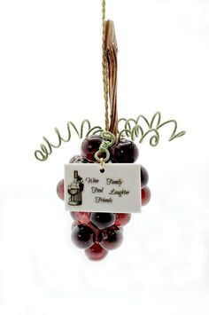 Glass Grape Cluster Ornament With Wine Quotation Tag of Choice (12.50 USD) by SunberryCreations
