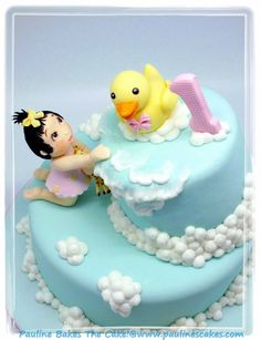 Mischievous Baby Topples The Cake ~ Giraffe, Duck, Baby, Clouds, etc. are all edible