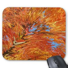 Abstract Orange Color Explosion Art Design Mouse Pad