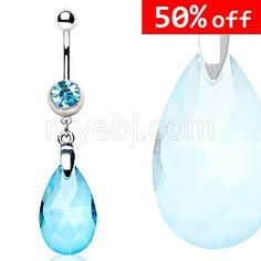 316L Surgical Steel Navel Ring with Extra Large Synthetic Gem Dangle