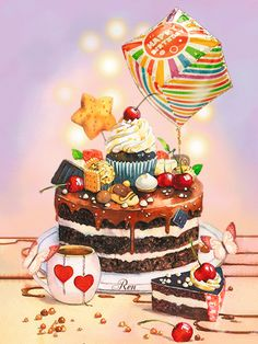 Cute Birthday Wishes, Happy Birthday Art, Happy Birthday Cake Images, Birthday Board, Birthday Greetings, Cake Drawing, Food Drawing, Birthday Cake Illustration, Congratulations