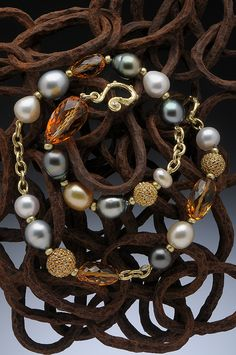 South Sea & Tahitian pearls, faceted citrine, diamond pave beads and diamond catch.  Hughes-Bosca Jewelry