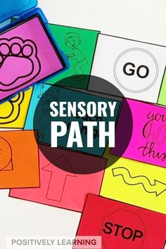 Sensory Path DIY! Here are 500 mix and match cards to create sensory walk paths in your home, hallway, or classroom. From Positively Learning #sensorypath #sensorywalk #sensory