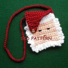 christmas crocheting   Free Stuff: Christmas pdf Crochet Pattern Mini Santa Purse Necklace ...