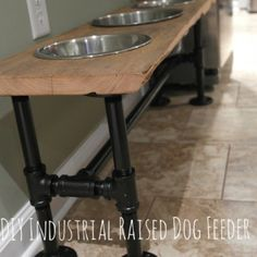 Industrial raised dog feeder. Love this. maybe make the top out of extra butcher block counters?