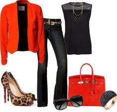 1. Cache boot jeans + leopard peeptoe heels/azaleia pumps + black top + coral blazer + coral bag