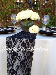 """Lace Table Runner, Black 3ft to 10ft long x 7"""" wide/Home Decor/Wedding Decor/weddings/tabletop decoration/autumn finds by LovelyLaceDesigns on Etsy"""