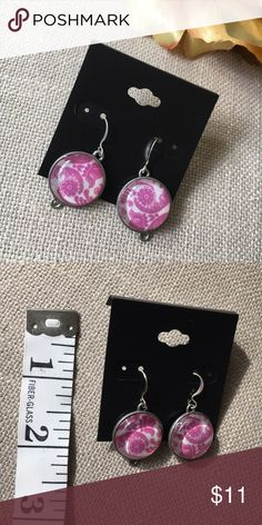 Handmade Damask Dangle Earrings Pink/Purple These Damask Dangle Earrings in a lovely Pink/Purple color are handmade, new with tags, never worn. These were a Steampunk inspired design and are lightweight and very beautiful! Fishhook wires are silver plated. Jewelry Earrings