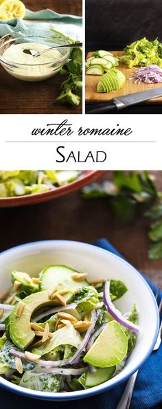 Winter Romaine Salad with Yogurt Dressing - Cold weather doesn't mean the end of yummy salads! It just means that it's time to make robust salads featuring heartier ingredients. | justalittlebitofbacon.com