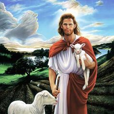 Beautiful Jesus Backgrounds | Beautiful Painting of Jesus Christ and 2 sheep with background Horses ...