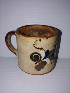 e14a991a9fc Tonala Mexican Stoneware Mug/Coffee Cup Signed J. Campe Flower Cobalt Blue