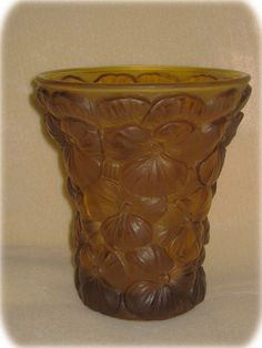 Art Deco Barolac Inwald Czechoslovakian Frosted Amber Glass Pansies Vase