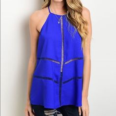 🎉HOST PICK🎉 Semi-sheer Halter Tank with Cutouts An intricate cutout design and tied-strap back make this tank a truly unique statement piece. Styling note: This item is somewhat sheer.  Size note: This item runs in juniors sizing.  * Size S: 34'' long from high point of shoulder to hem * 97% polyester / 3% spandex Tops