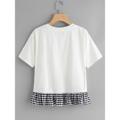 SheIn(sheinside) Gingham Frill Hem Overlap Top ($12) ❤ liked on Polyvore featuring tops, short sleeve tops, ruffle top, gingham top, white short sleeve top and white ruffle sleeve top