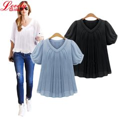 Women Chiffon Blouse 2017 Summer Style Plus Size Loose Pleated Black And Blue Color Blusas Chiffon Short Sleeve Casual Tops Sale