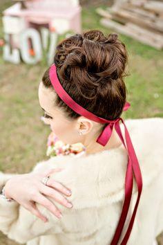 Bridal hair with marsala ribbon