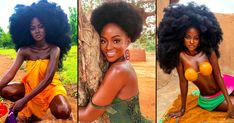 PICS: The Beautiful Hamamat Ditches Her Afro Wig For Her Own Natural Hair & Here's How She Did It African Dresses Men, African Wear, African Fashion, Big Afro, Afro Wigs, African Models, Two Piece Swimwear, Loose Curls, Plaits
