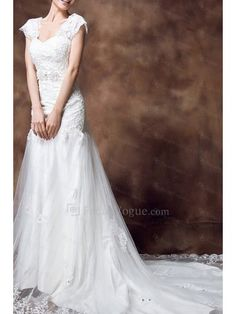 Lace Off-the-Shoulder Cathedral Train Sheath Wedding Dress with Crystal