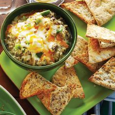 Philly Cheesesteak Dip with Baked Pita Chips - Clean Eating - Improving your life one meal at a time.