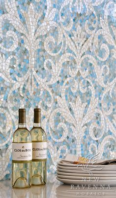 Serena jewel glass mosaic in Aquamarine and Quartz | New Ravenna