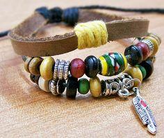 brown leather bracelets for men women Surfer Cuff by edwinating, $6.99
