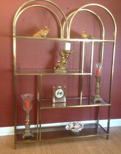 Modern Vintage Furniture Metal & Glass Shelves Etagere Bookcase #unknown