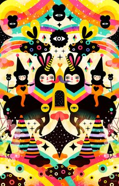 Illustrator Muxxi has created an explosion of colours in fantastical, symmetrical worlds for this personal project.