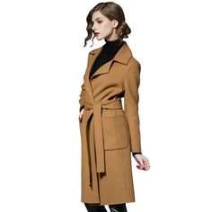 65afb64bf11 Long Style Sashes Trench Coat. Outerwear Women ...