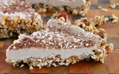 This raw pie contains a banana, coconut cream, and cashew filling atop a crust made of nuts, dates, and maple syrup.