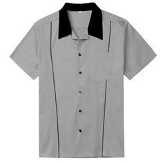 Discount Sale Western Mens Clothing Rockabilly Grey Retro Design Shirt Short Sleeves Mens Shirts With Pockets Mens Clothing Sale, Clothes For Sale, Size Clothing, Vintage Bowling Shirts, Casual Shirts For Men, Men Casual, Party Shirts, Cool Shirts, Vintage Men