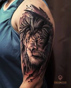 Lion face Tattoo images – creattattoo - Famous Last Words Lion Arm Tattoo, Lion Shoulder Tattoo, Lion Tattoo Sleeves, Lion Head Tattoos, Wolf Tattoo Sleeve, Mens Lion Tattoo, Lion Tattoo Design, Leo Tattoos, Best Sleeve Tattoos