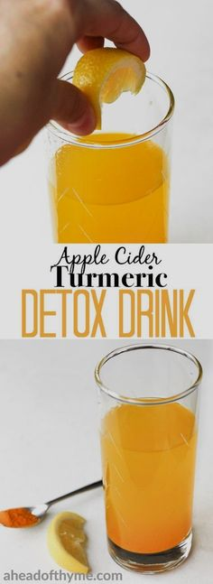 Detox drinks Start your mornings right with this easy-to-make, apple cider turmeric detox drink bursting with incredible health benefits. Detox Diet Drinks, Smoothie Detox, Fat Burning Detox Drinks, Detox Juices, Turmeric Detox Drink, Turmeric Tea, Apple Detox, Full Body Detox, Bebidas Detox