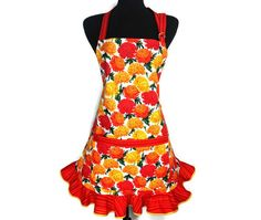 Retro Kitchen Apron for Women  Orange and Yellow by ElsiesFlat, $38.00