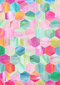Pretty Pastel Hexagon Pattern in Oil Paint Art Print by Micklyn   Society6