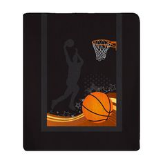 Personalized Jumpshot Basketball Plush Fleece Blanket by redbeauty