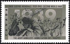 Canadian Postal Archives Database    Postal Administration: Canada     Title: The Army mobilizes     Denomination: 38¢     Date of Issue: 10 November 1989